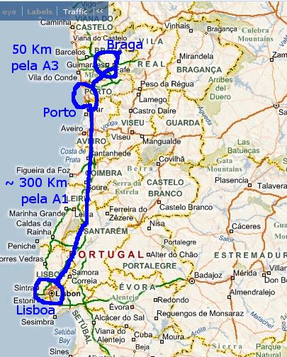 mapa de portugal em km Mapas: Braga, Gualtar   EIDAO 2008 mapa de portugal em km