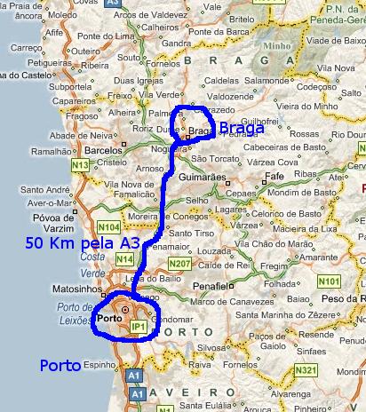 mapa porto braga Mapas: Braga, Gualtar   EIDAO 2008 mapa porto braga